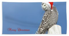 Bath Towel featuring the photograph Snowy Owl Christmas Card by Everet Regal
