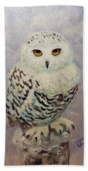 Hand Towel featuring the painting Snowy Owl by Janet McDonald