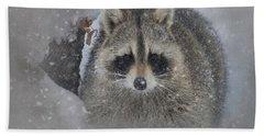 Snowy Raccoon Hand Towel