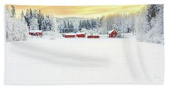 Snowy Ranch At Sunset Hand Towel