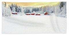 Snowy Ranch At Sunset Bath Towel