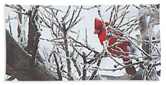 Snowy Red Bird A Cardinal In Winter Bath Towel