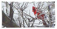 Snowy Red Bird A Cardinal In Winter Bath Towel