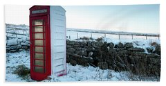 Snowy Telephone Box Hand Towel by Helen Northcott