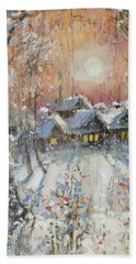 Snowy Village Bath Towel