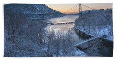 Snowy Winter Dawn At Three Bridges Bath Towel