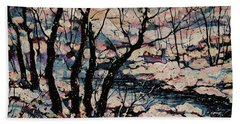 Snowy Woods Hand Towel by Natalie Holland