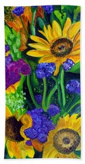 Sunflowers -soaking Up Sunshine Bath Towel by Julie Brugh Riffey