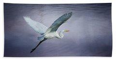 Soaring Egret Bath Towel