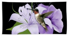 Hand Towel featuring the mixed media Soaring Hummingbird by Marvin Blaine