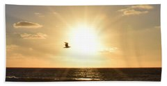 Bath Towel featuring the photograph Soaring Seagull Sunset Over Imperial Beach by Karen J Shine