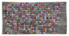 Soda Pop Bottle Cap Map Of The United States Of America Hand Towel
