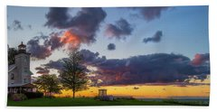 Sodus Bay Lighthouse At Sunset Hand Towel