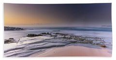 Soft And Rocky Sunrise Seascape Hand Towel