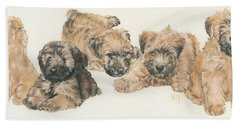 Soft-coated Wheaten Terrier Puppies Hand Towel by Barbara Keith
