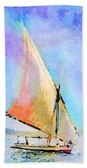 Bath Towel featuring the painting Soft Evening Sail by Angela Treat Lyon