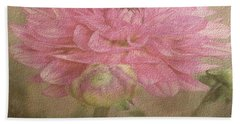 Soft Graceful Pink Painted Dahlia Hand Towel