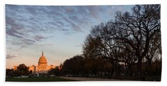 Soft Orange Glow - U S Capitol And The National Mall At Sunset Bath Towel