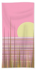 Soft Pink Sky Hand Towel by Val Arie