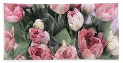 Soft Pink Tulips Bath Towel