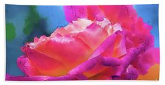 Soft Rose Bloom In Red And Purple Hand Towel
