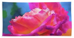 Soft Rose Bloom In Red And Purple Bath Towel