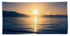 Soft Sunset Lake Hand Towel