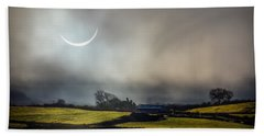 Solar Eclipse Over County Clare Countryside Hand Towel