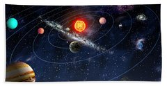 Hand Towel featuring the digital art Solar System by Gina Dsgn