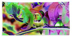 Bath Towel featuring the photograph Solarized Hummer by Wendy McKennon