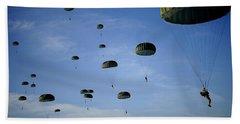 Soldiers Descend Under A Parachute Bath Towel