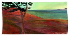 Bath Towel featuring the painting Solitary Pine by Claire Bull