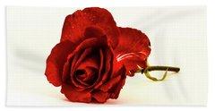 Red Rose Bud Hand Towel