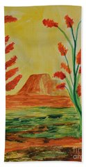 Solitary Sunset Bath Towel by Maria Urso