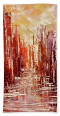 Hand Towel featuring the painting Some Golden Day by Tatiana Iliina