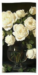 More White Roses In Brandy Snifter Bath Towel