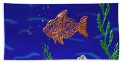 Hand Towel featuring the painting Something Fishy by Kevin Caudill