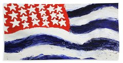 Hand Towel featuring the painting Something's Wrong With America by Thomas Blood