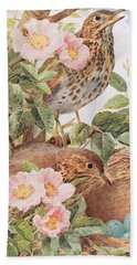 Song Thrushes With Nest Bath Towel