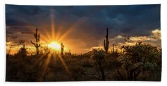 Hand Towel featuring the photograph Sonoran Gold At Sunset  by Saija Lehtonen