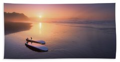 Sopelana Beach With Surfboards On The Shore Bath Towel