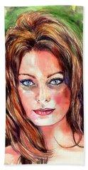 Sophia Loren Portrait Bath Towel
