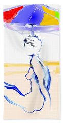 Hand Towel featuring the painting Sophi's Umbrella #2 - Female Nude by Carolyn Weltman