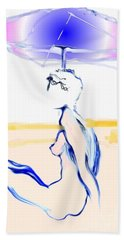 Hand Towel featuring the painting Sophi's Umbrella - Female Nude by Carolyn Weltman