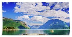 Bath Towel featuring the photograph Soreimsfjorden by Dmytro Korol