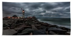 Stormy Clouds Over Old Scituate Lighthouse In The Early Morning Bath Towel