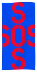 Sos Blue And Red Hand Towel