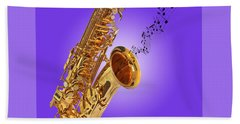 Sounds Of The Sax In Purple Bath Towel