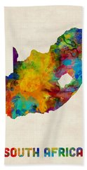 South Africa Watercolor Map Hand Towel