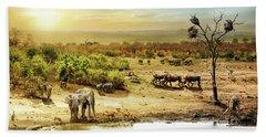 South African Safari Wildlife Fantasy Scene Bath Towel